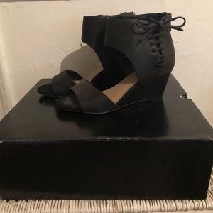 🆕Torrid Black Lace Up Wedge Sandals - 8W